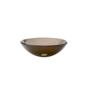 "17"" Round Tempered Transparent Glass Vessel Lavatory Charcoal"
