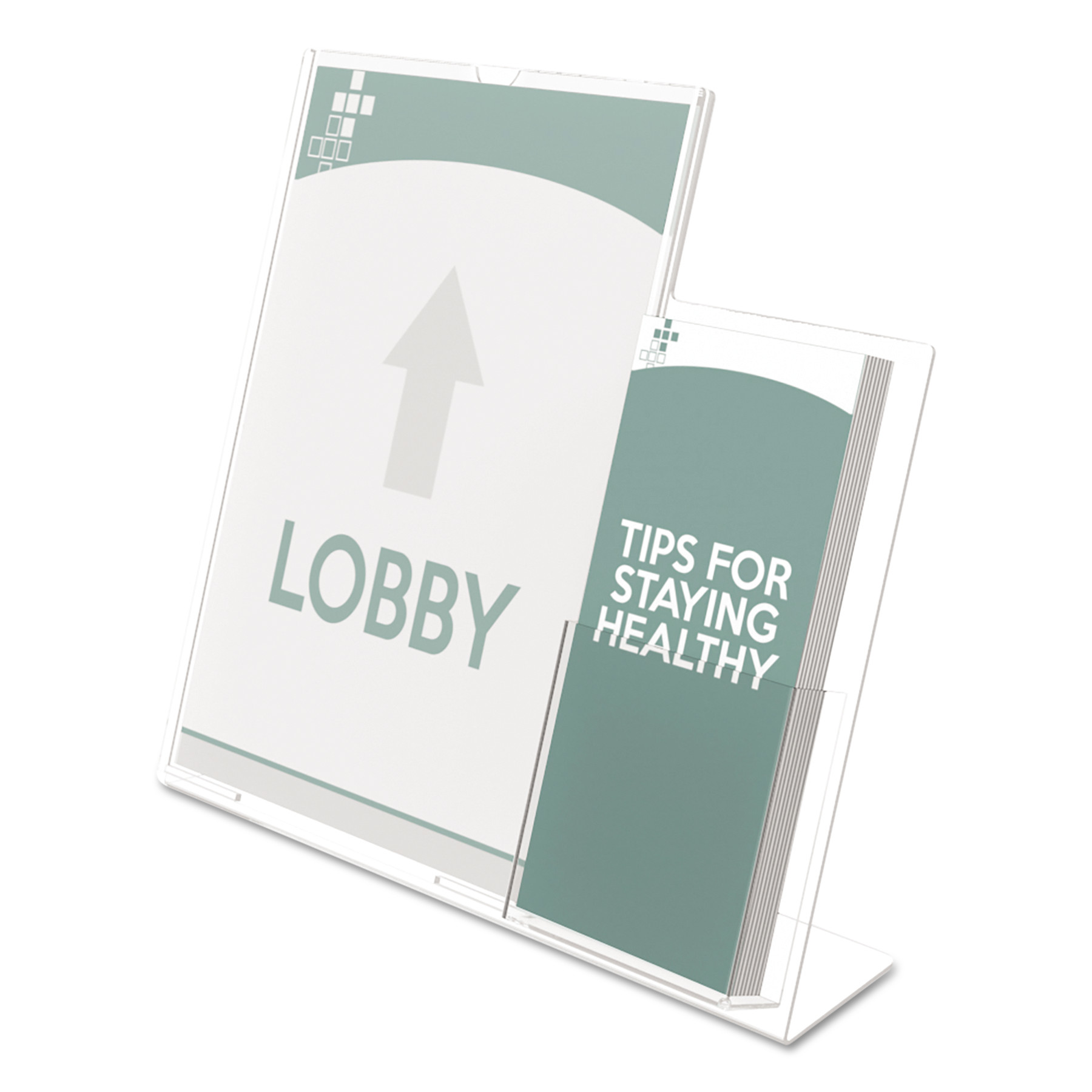 Superior Image Sign Holder With Pocket,  13 1/2w x 4 1/4d X 10 7/8h, Clear