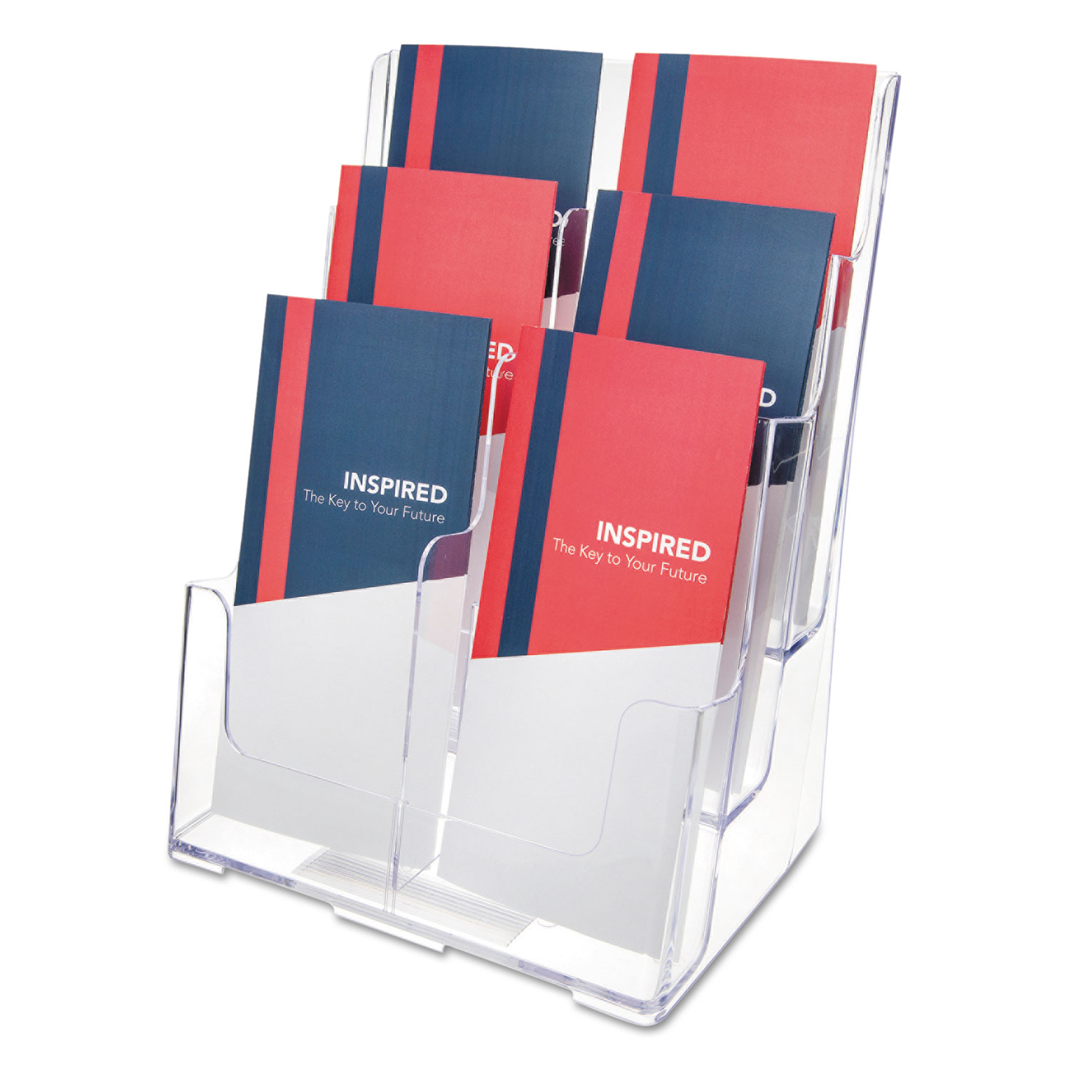 Multi Compartment DocuHolder, Six Compartments, 9 5/8w x 6 1/4d x 12 5/8h, Clear