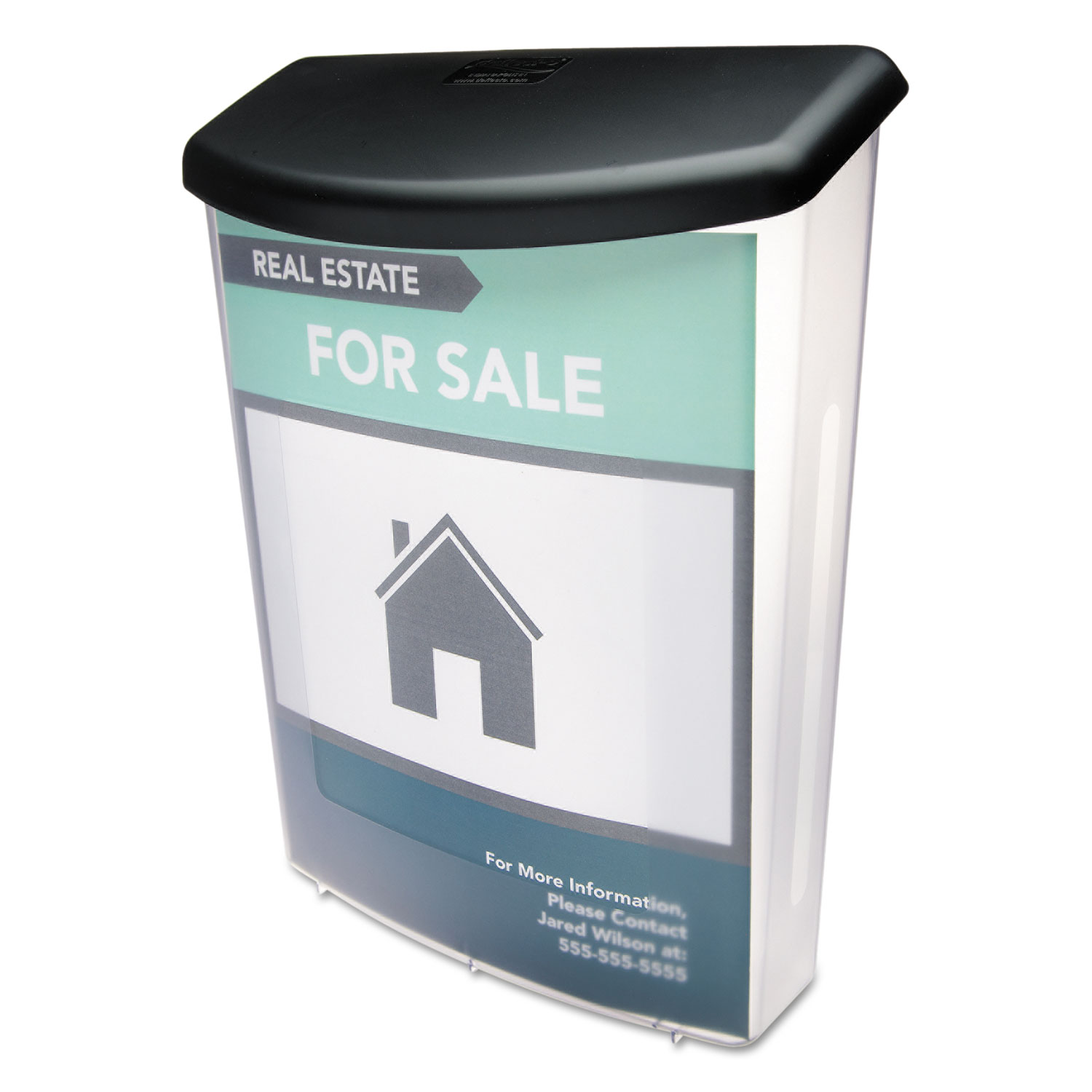 Outdoor Literature Box, 10w x 4 1/2d x 13 1/8h, Clear/Black