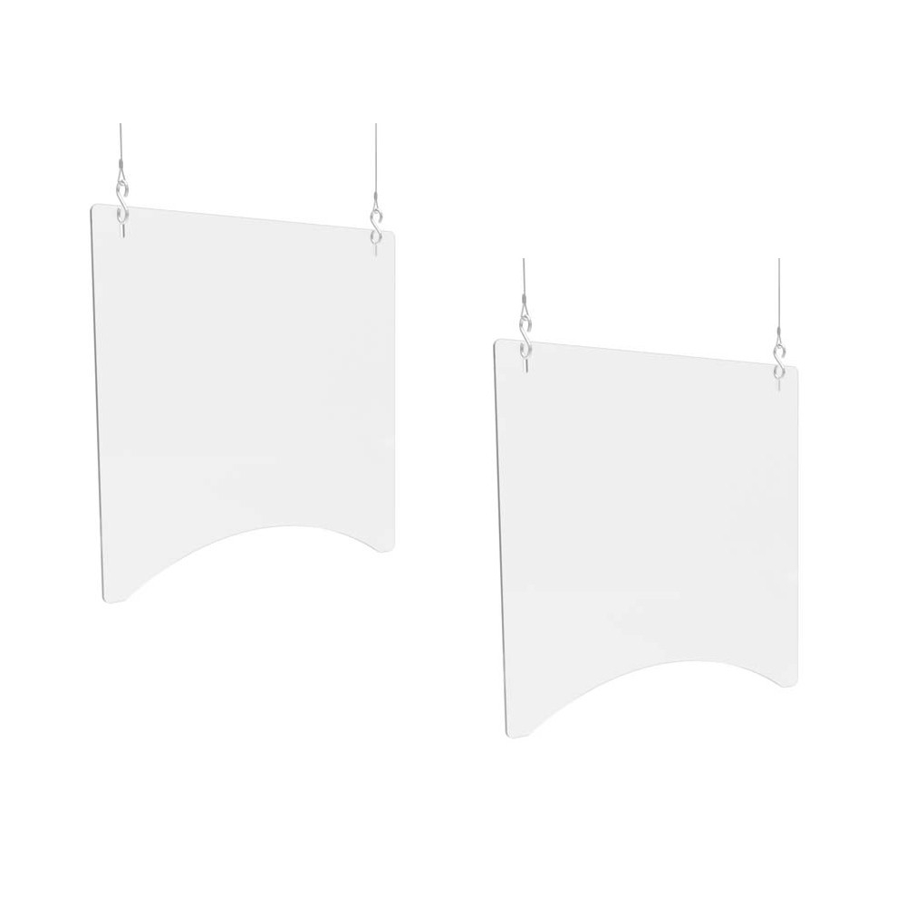 """Hanging Barrier, 23.75"""" x 23.75"""", Polycarbonate, Clear, 2/Carton"""