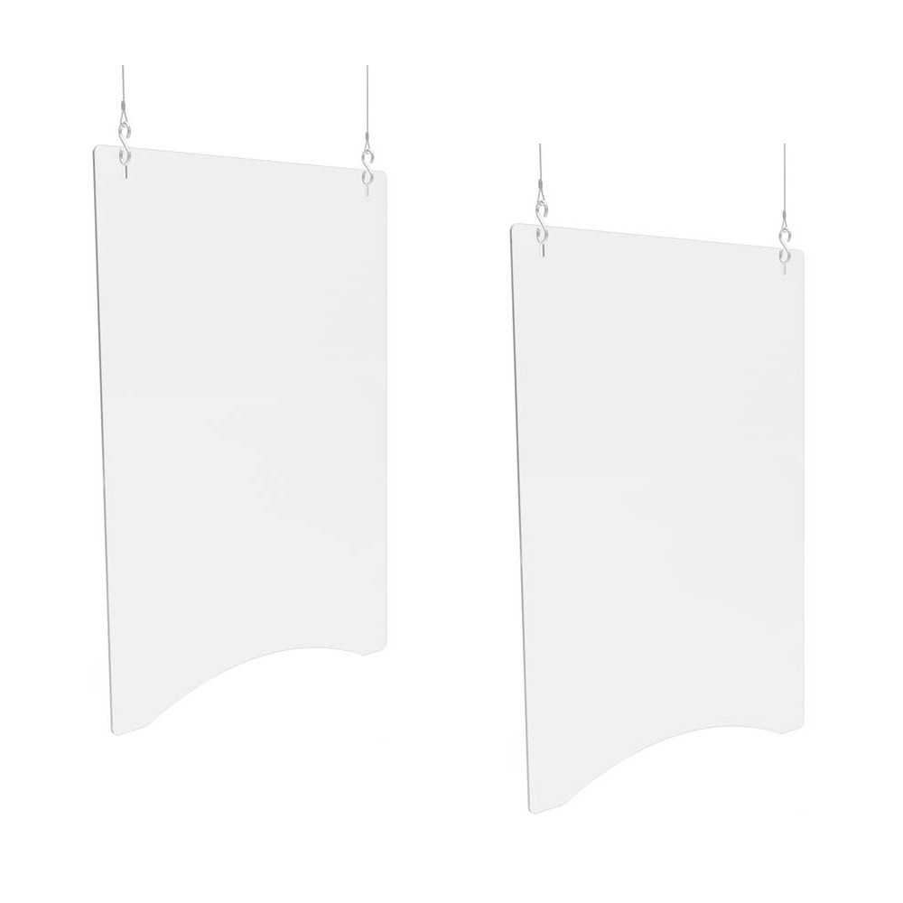 """Hanging Barrier, 23.75"""" x 35.75"""", Polycarbonate, Clear, 2/Carton"""