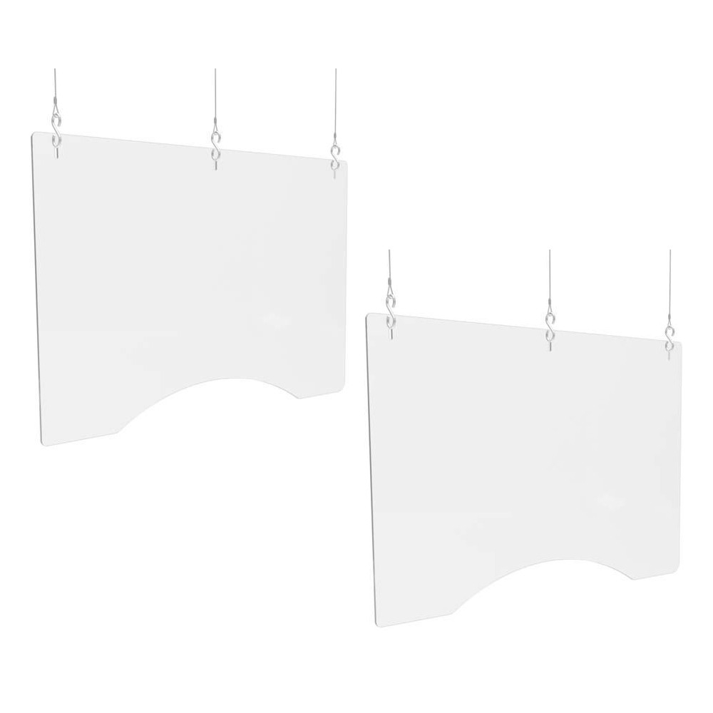 """Hanging Barrier, 36"""" x 24"""", Polycarbonate, Clear, 2/Carton"""