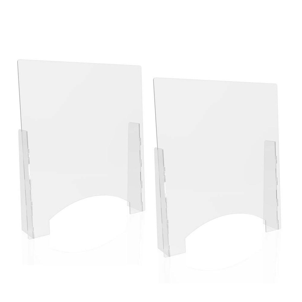 "Counter Top Barrier with Pass Thru, 31.75"" x 6"" x 36"", Acrylic, Clear, 2/Carton"