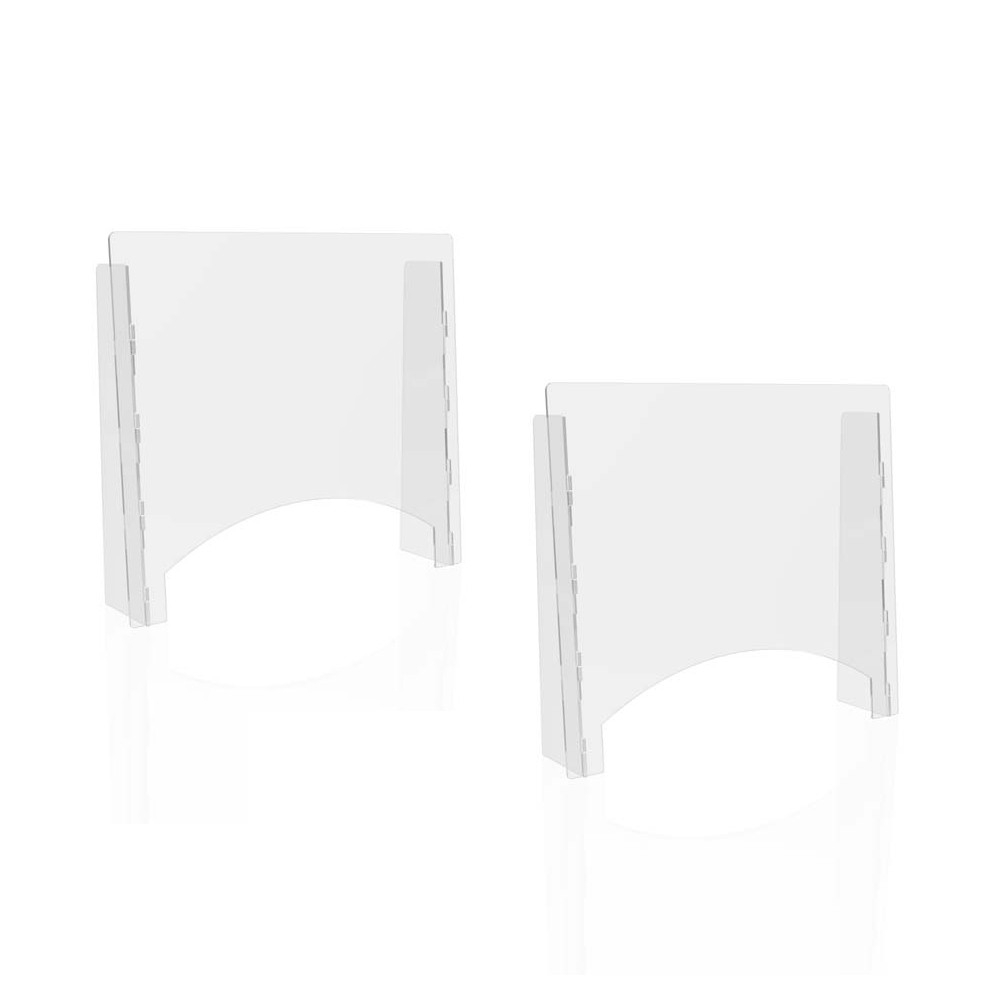 """Counter Top Barrier with Pass Thru, 27"""" x 6"""" x 23.75"""", Polycarbonate, Clear, 2/Carton"""