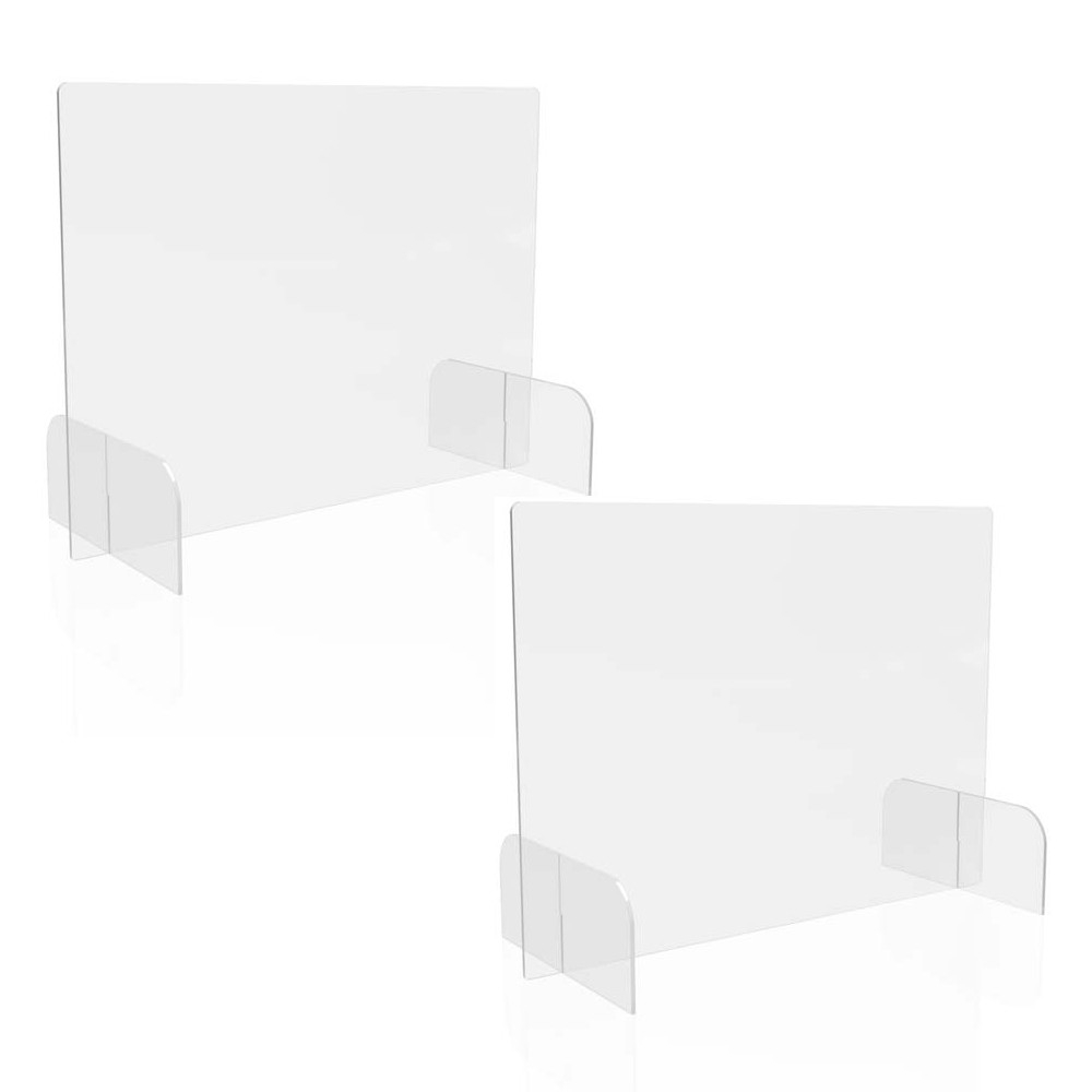 """Counter Top Barrier with Full Shield and Feet, 31"""" x 14"""" x 23"""", Polycarbonate, Clear, 2/Carton"""
