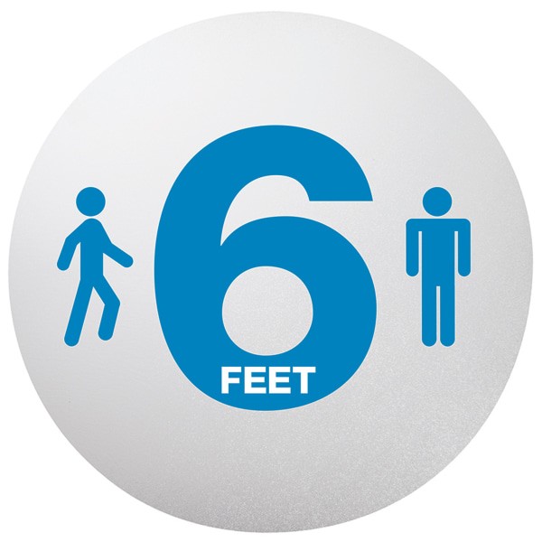 "Personal Spacing Discs, 6 Feet Apart, 20"" dia, Clear/Medium Blue, 6/Pack"
