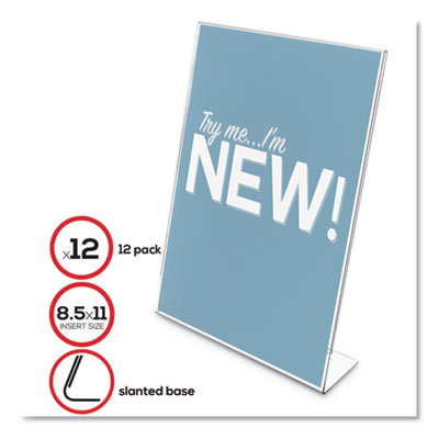 "Classic Image Slanted Sign Holder, 8 1/2"" x 11"", Clear Frame, 12/Pack"