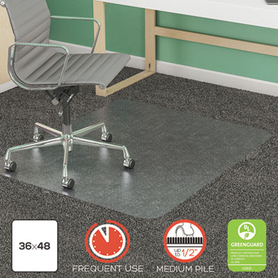"SuperMat Frequent Use Chair Mat, Rectangle, 36"" x 48"", Medium Pile, Clear"