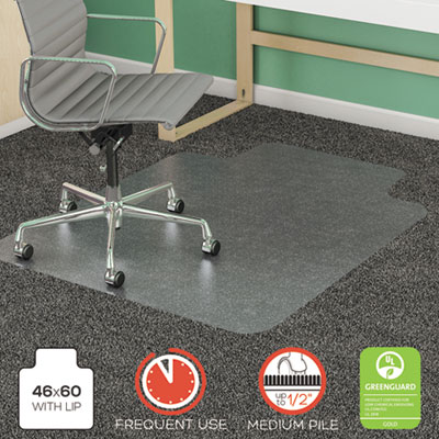 "SuperMat Frequent Use Chair Mat, Rectangle, 46"" x 60"", Medium Pile, Lip, Clear"