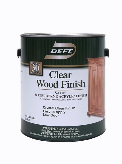 Deft® Clear Wood Finish Interior Water Based Acrylic, Satin, 1 Gallon