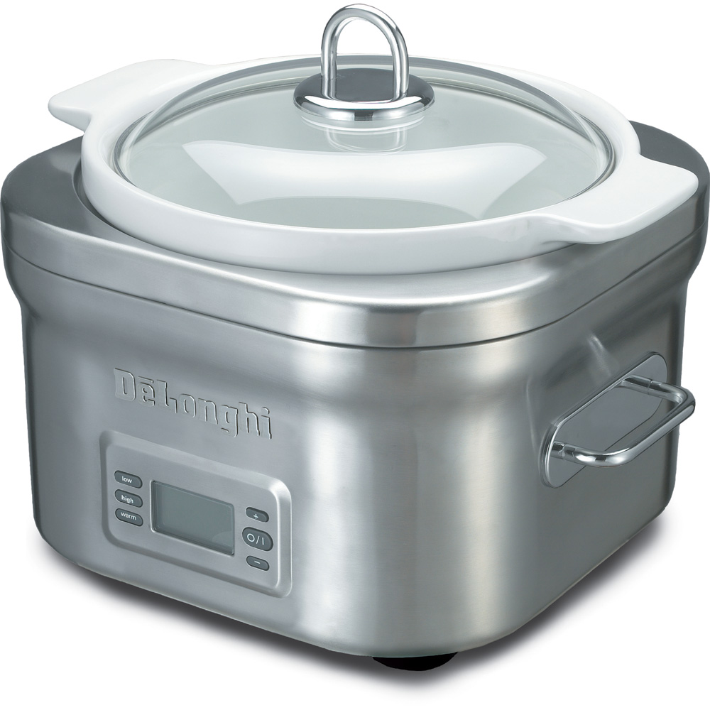 5 Qt. Compact Stainless Steel/White Slow Cooker