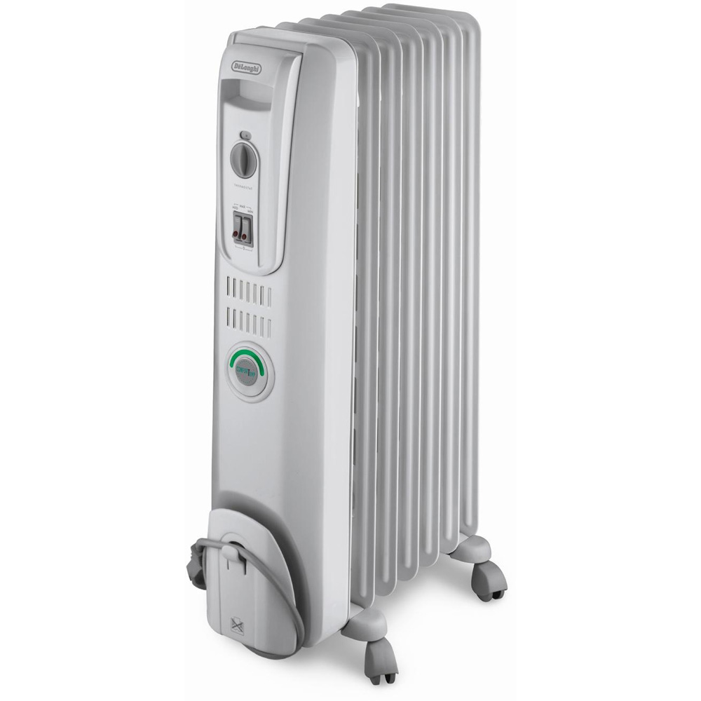 Comfort-Temp 7 Fin Oil-Filled Portable Radiant Heater with Easy Wheels, White