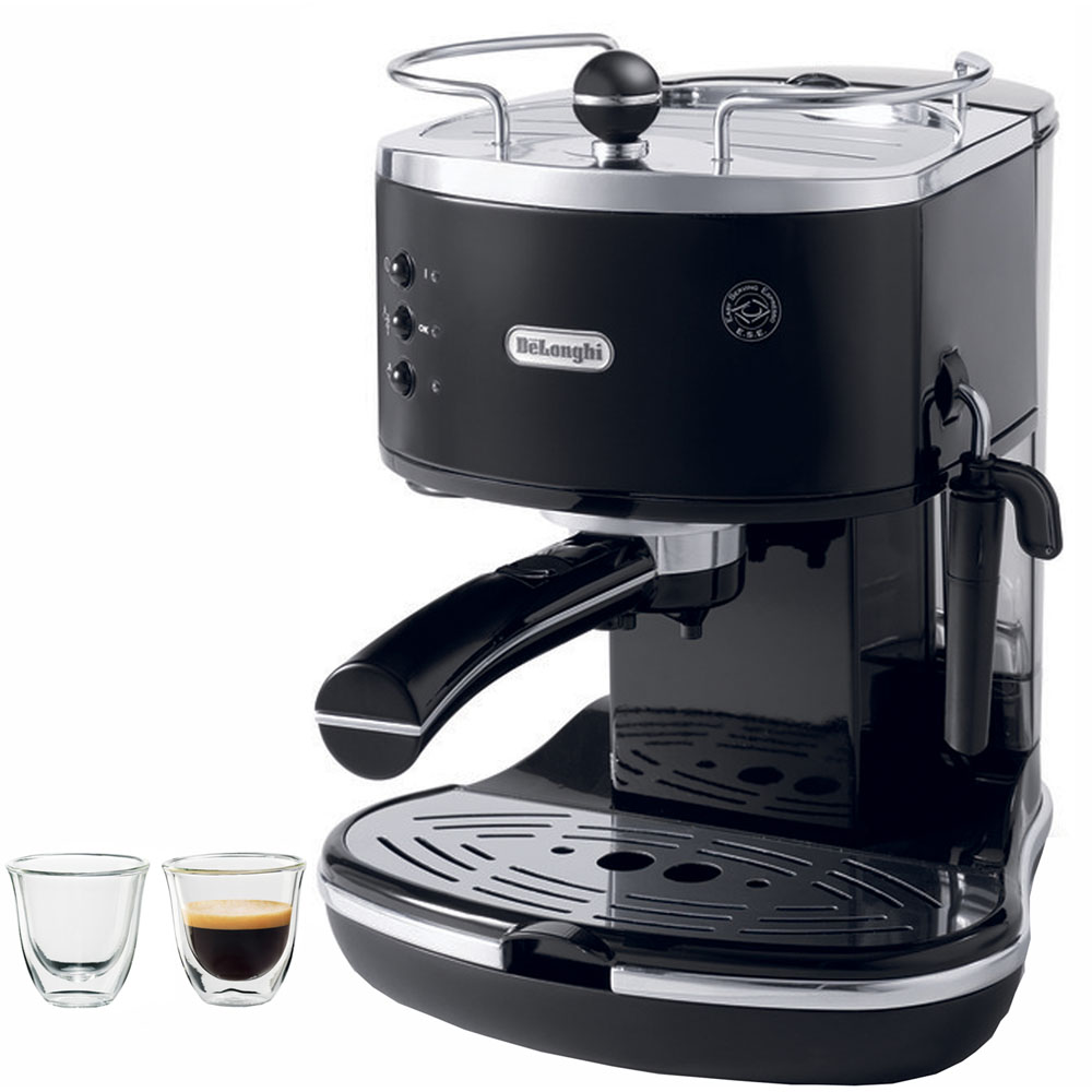 Icona Black & Stainless Steel Pump Espresso Maker with Espresso Glasses