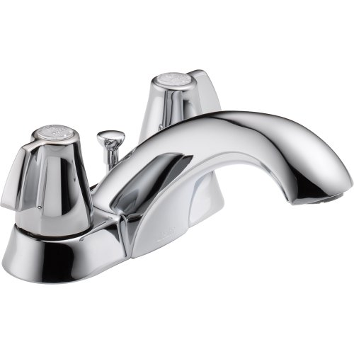DELTA� BATHROOM FAUCET, TWO HANDLE, CHROME, WITH POP-UP, LEAD FREE, 1.2 GPM