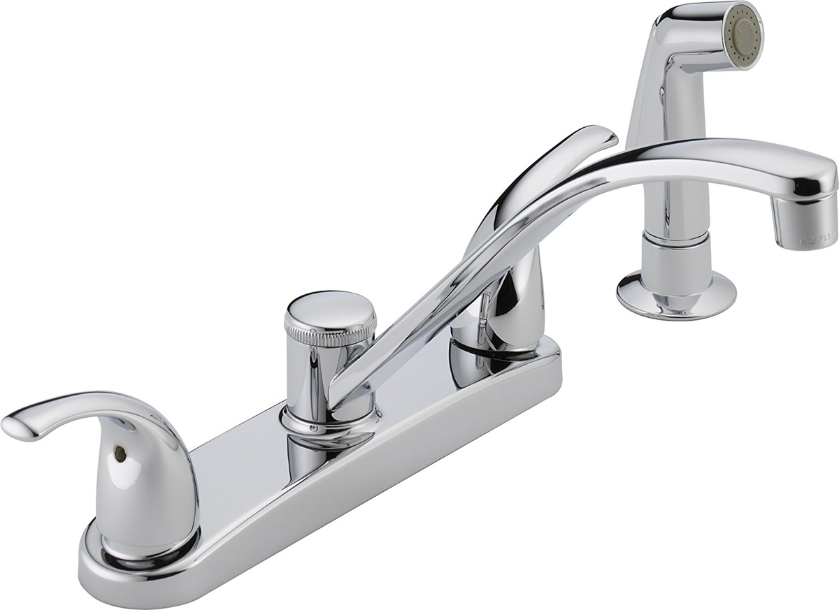 1.8 GPM Ergonomic blade Two Handle Kitchen Faucet, Chrome