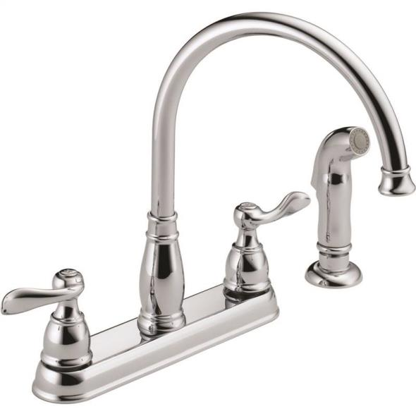 Kitchen Faucet 2-Handle Spray Chrome