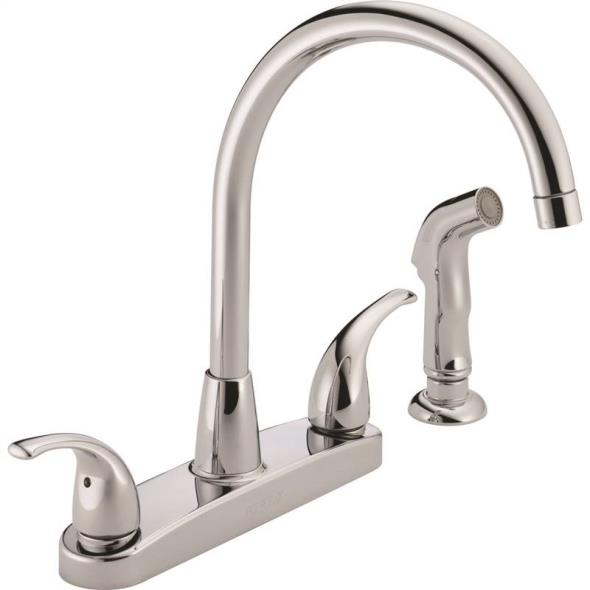 2-Handle High Arc Rotating Spout Kitchen Faucet with With Side Spray, Chrome