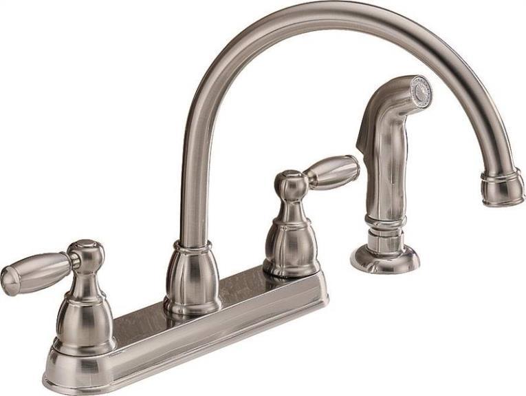 Kitchen Faucet 2-Handle Spray Arc Still Steel