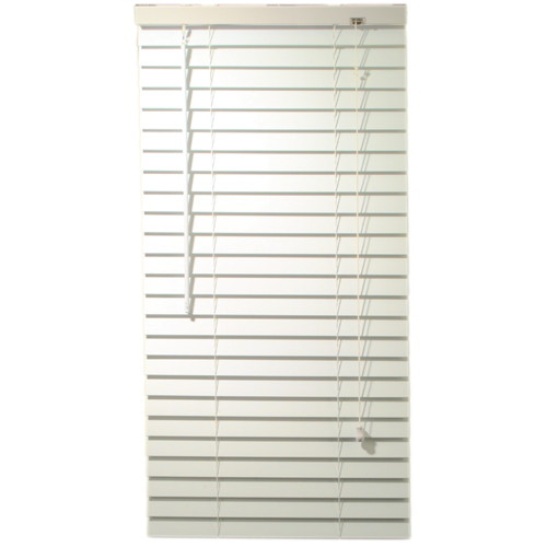 "2"" Faux Wood Mini Blinds With Contemporary Valance, White, 24-1/2""x48"""