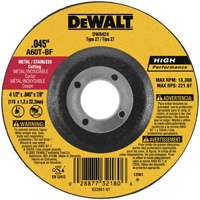 Dewalt 1394956 Depressed Center Fast Cutting Grinding Wheel, 4-1/2 in Dia x 7/8 in T, A60T Grit
