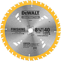Dewalt 20 Circular Saw Blade, 8-1/4 in Dia x 0.05 in T, 40 Teeth, 5/8 in Arbor
