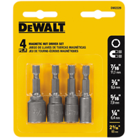 Dewalt DW2229 Magnetic Nutdriver Set, 4 Pieces, For Use with Power Drill, 2-9/16 in L