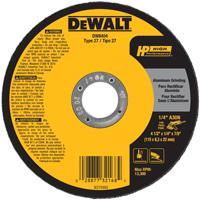 DeWalt DW8404 Type 27 Grinding Wheel, 4-1/2 in Dia X 1/4 in T, A30N Grit, 7/8 in Arbor