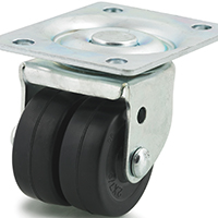 DH Casters C-B220 Swivel Twin Wheel Business Machine Caster, 2 in Dia X 13/16 in W, 200 lb, Hard Rubber
