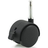 DH Casters C-T20S1BKB Swivel Twin Wheel Furniture Caster With Brake, 2 in Dia, 85 lb, Plastic