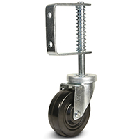 DH Casters C-GSL Spring Loaded Swivel Gate Caster, 4 in Dia X 1-1/4 in W, 40 lb, Hard Rubber