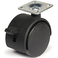 DH Casters C-T20P1BKB Swivel Twin Wheel Furniture Caster With Brake, 2 in Dia, 85 lb, Plastic