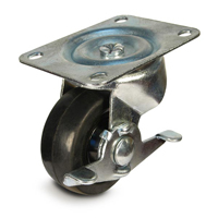 DH Casters C-GD General Duty Swivel Caster With Brake, 2-1/2 in Dia X 1-1/8 in W, 100 lb, Soft Rubber