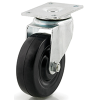 DH Casters C-LM4P1RS Light/Medium Duty Swivel Caster, 4 in Dia X 1-1/4 in W, 265 lb, Rubber