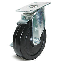 DH Casters C-LM5P1RSB Light/Medium Duty Swivel Caster With Brake, 5 in Dia X 1-1/4 in W, 300 lb, Rubber