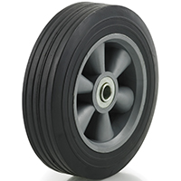 DH Casters W-PL08225B5 Light/Medium Duty Hub Wheel, 8 in Dia X 2-1/4 in W, 300 lb, Rubber