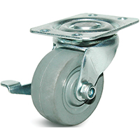 DH Casters C-GD General Duty Non-Marking Swivel Caster With Brake, 2 in Dia X 15/16 in W, 125 lb, Rubber