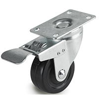 DH Casters C-ML Light/Medium Duty Swivel Total Locking Caster, 5 in Dia X 1-1/4 in W, 300 lb, Rubber