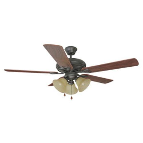 """Bristol 52"""" 3-Light 5-Blade Ceiling Fan, Dark Mahogany Blades, Oil Rubbed Bronze"""
