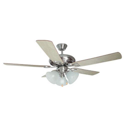 Bristol 52-Inch 3-Light 5-Blade Ceiling Fan, Redwood or Light Maple Blades, Satin Nickel