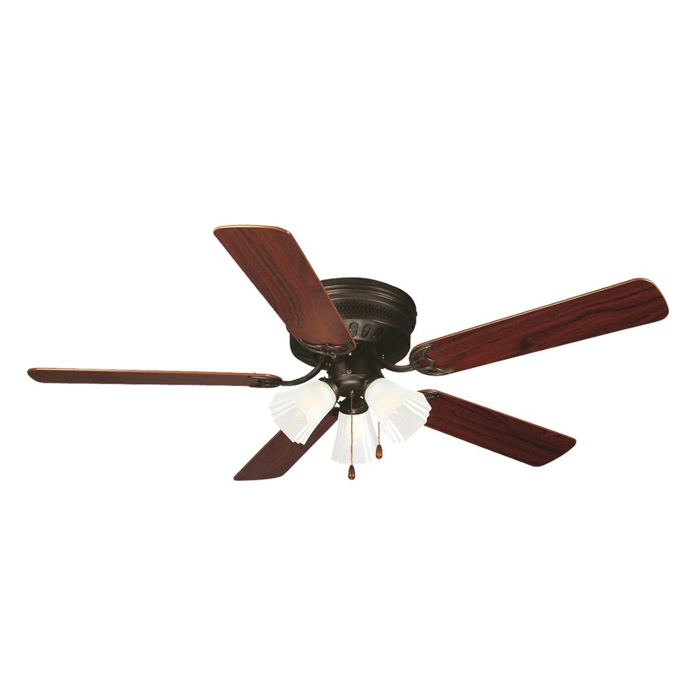 Millbridge 52-Inch 5-Blade Hugger Mount Ceiling Fan, Dark Mahogany or Ligh Maple Blades, Oil Rubbed Bronze