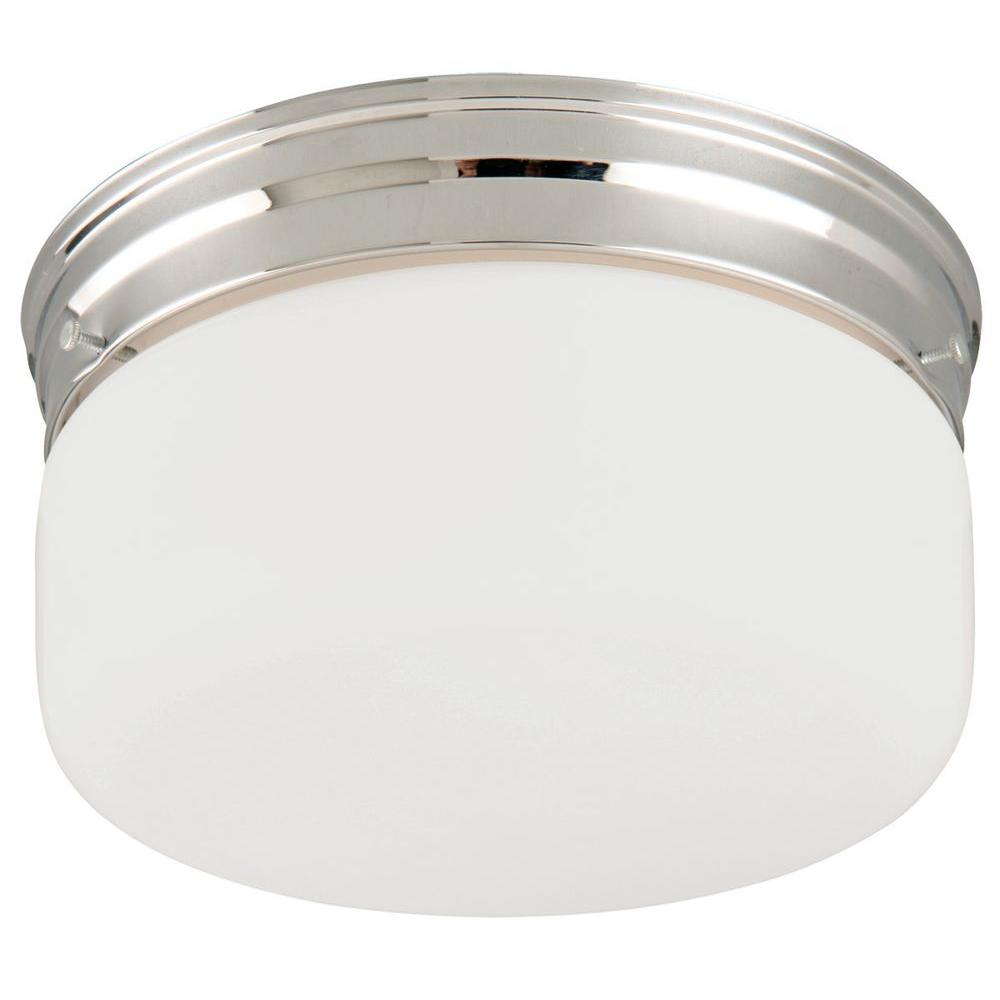 2-Light White Opal Ceiling Mount, Chrome