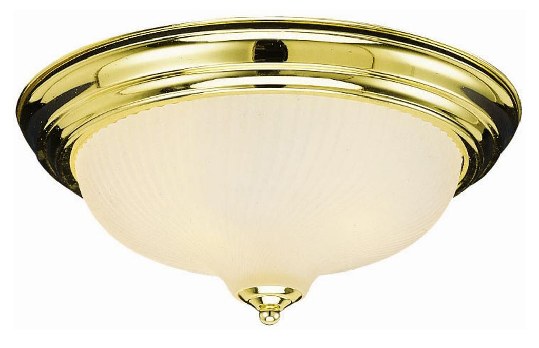 2-Light Ceiling Mount, Polished Brass