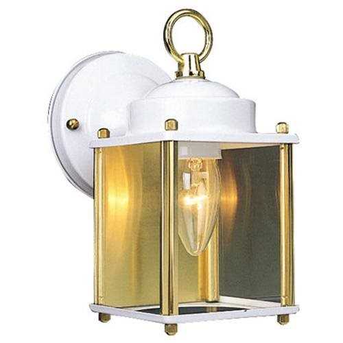 Coach Outdoor Downlight, 4.5-Inch by 8-Inch, White and Polished Brass