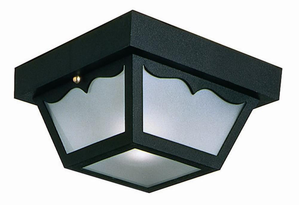 Outdoor Ceiling Mount Light, 10.5-Inch by 5.5-Inch, Black Polypropylene