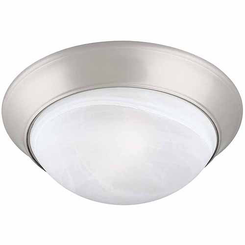 2-Light Ceiling Mount Twist Off, Satin Nickel