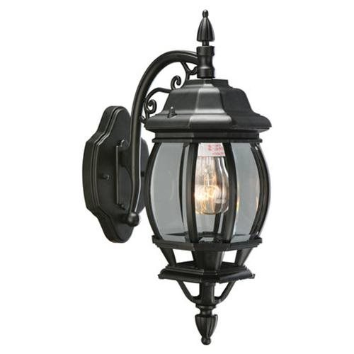 Canterbury Outdoor Downlight, 6-Inch by 17-Inch, Black Die-Cast Aluminum