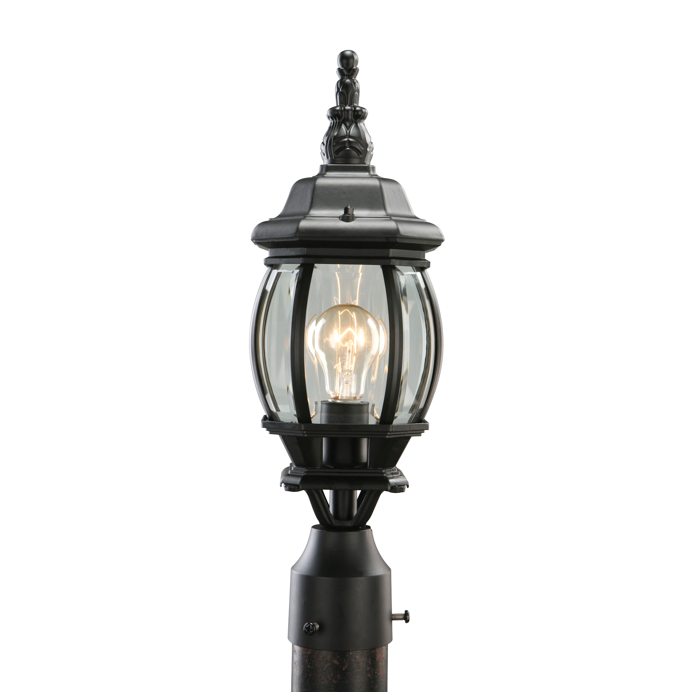 Canterbury Outdoor Post Light, 6.125-Inch by 18.5-Inch, Black Die-Cast Aluminum
