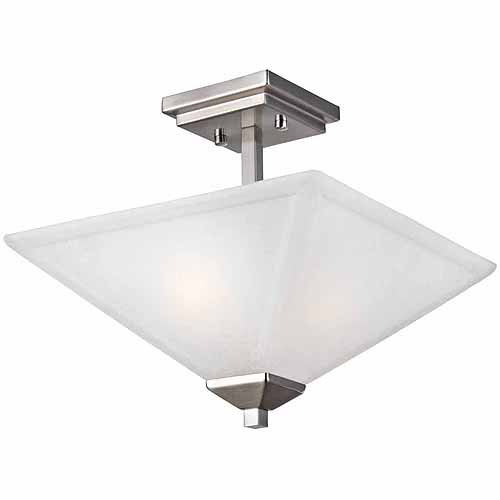 Torino 2-Light Semi Flush Ceiling Light, Satin Nickel