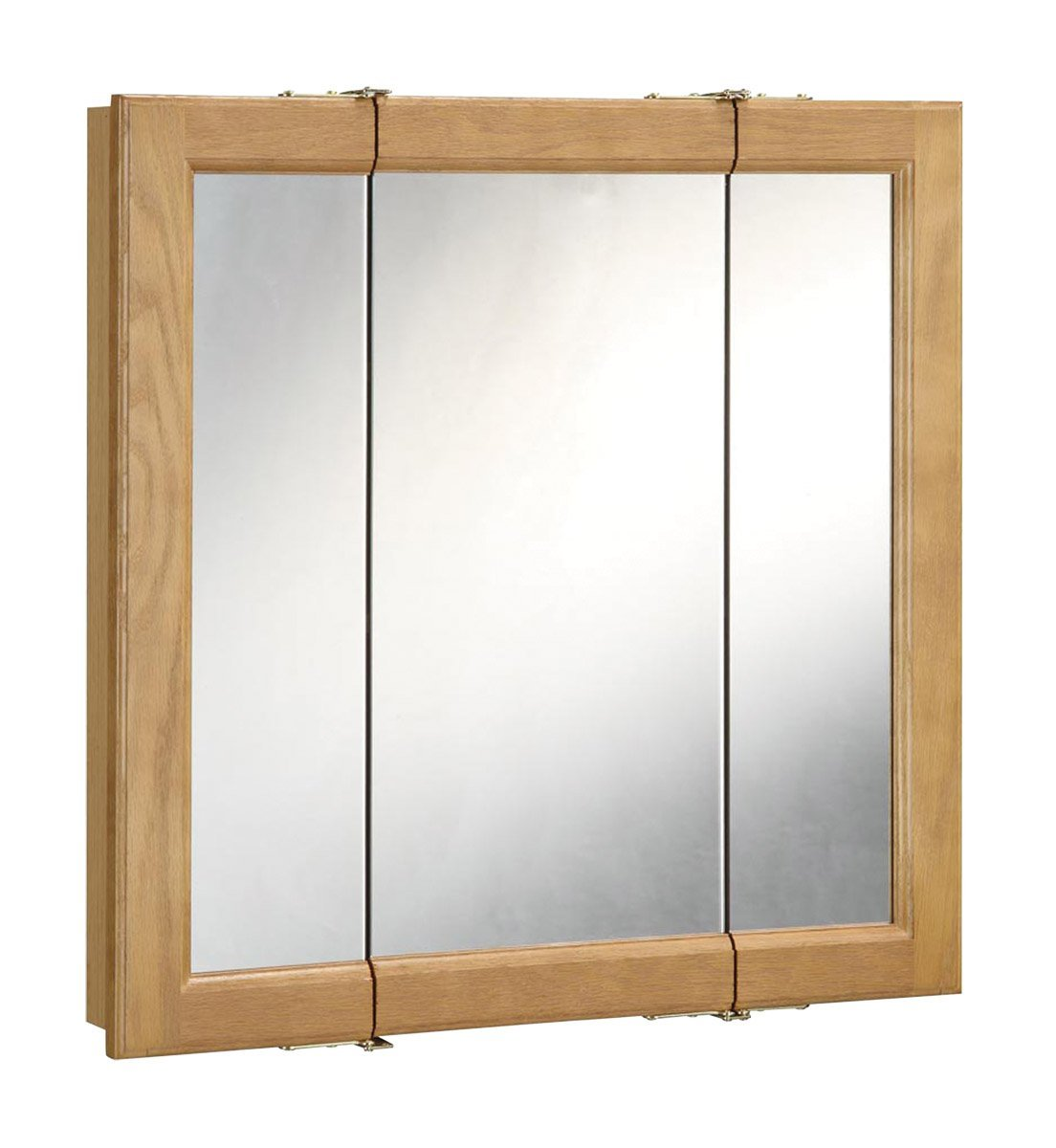 "Richland Nutmeg Oak Tri-View Medicine Cabinet Mirror with 3-Doors, 36"" by 30"""